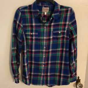 Old Navy Blue Plaid Button Up